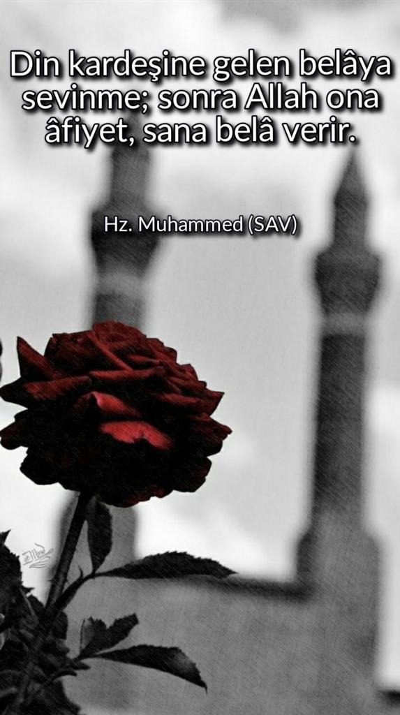 Din kardeşine gelen belaya sevinme sonra Allah ona afiyetsana bela verir 573x1024 - Resimli Hz Muhammed (SAV) Sözleri - İslam Peygamberi Hz Muhammed Sözleri,Hz Muhammed Hadisleri, mesajlar, dini-sozler