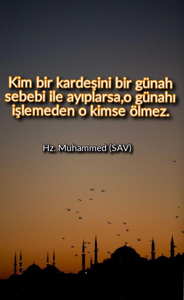 Kim bir kardeşini bir günah sebebi ile ayıplarsao günahı işlemeden o kimse ölmez 627x1024 - Resimli Hz Muhammed (SAV) Sözleri - İslam Peygamberi Hz Muhammed Sözleri,Hz Muhammed Hadisleri, mesajlar, dini-sozler