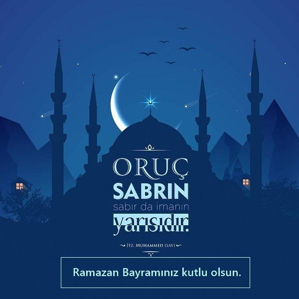 Oruç Sabrın Sabırda İmanın Yarısıdır. Ramazan Bayramınız Kutlu Olsun - Ramazan Bayramı İle İlgili Resimli Kutlama Mesajları Ve Sözleri, resimli-sozler